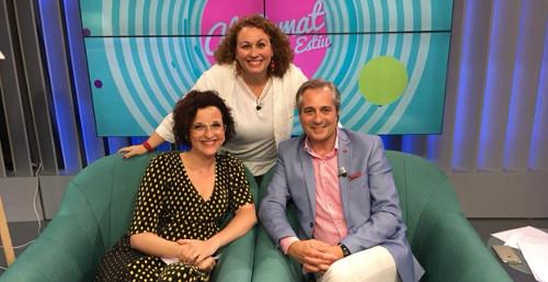 Sonia El Hakim con Ximo Rovira y Pepa Gómez en LevanteTV